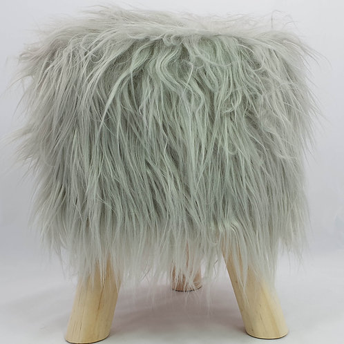 Shaggy Faux Fur Foot stool Bench Ottoman Padded Wooden stool Round silver