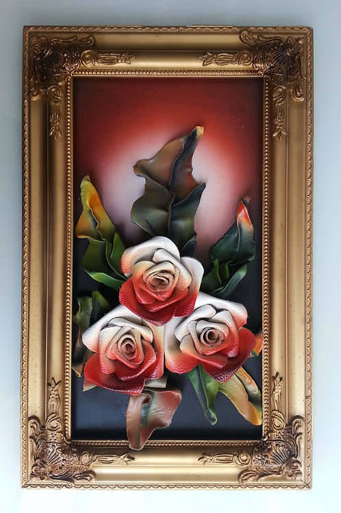 Leather Flowers Wall Picture Frame Red-White