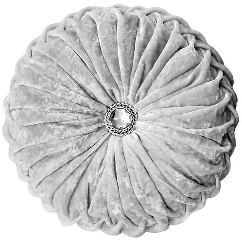 Crush velvet Round Diamante filled cushions-White