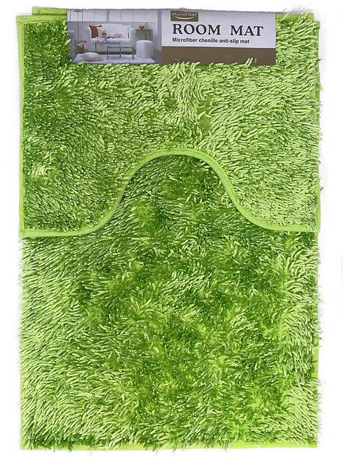 Sparkle chenille Bath and Pedestal Mat Sets Anti Slip LIME GREEN