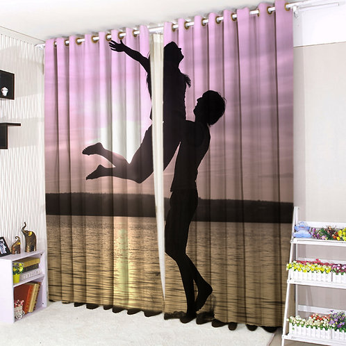 Pair of Eyelet Ring Top Curtains 3D Sunset