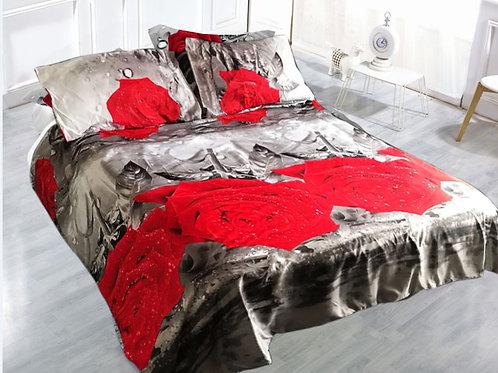 3D Duvet set, 80gsm Red Grey Rose, Double King size