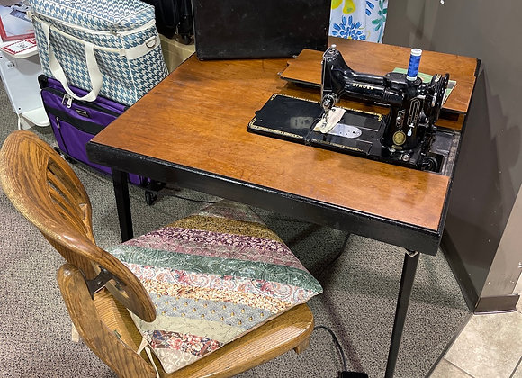 Antique Singer Sewing Machine & Table