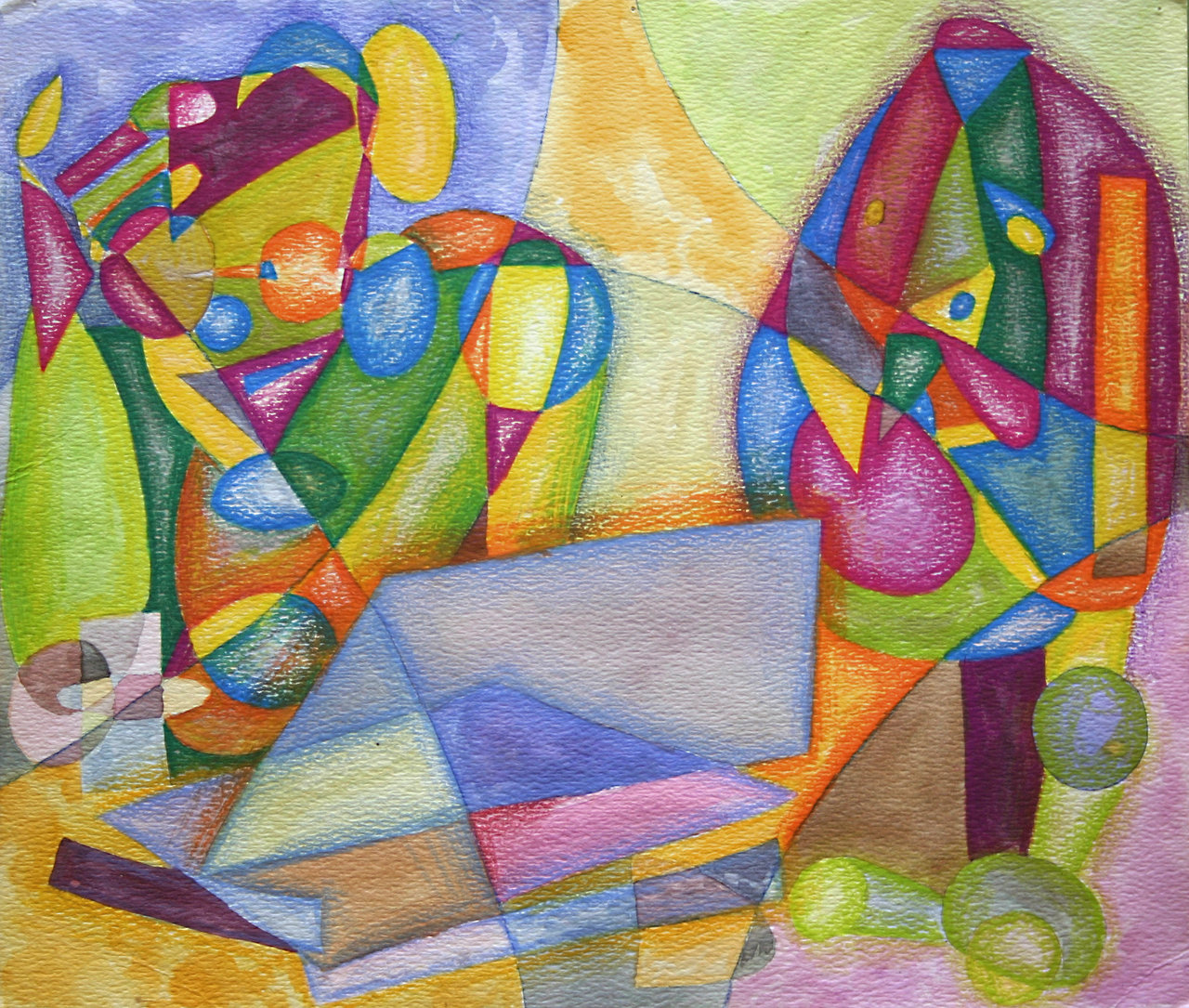 Cubist drawing of lady and beagle