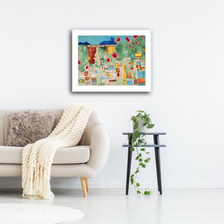 Lost Time Print by Tasha Riley hanging in lounge room setting (photo credit: iArtView)
