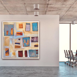 Little Boxes: Original painting by Tasha Riley in office setting (photo credit: iArtView)