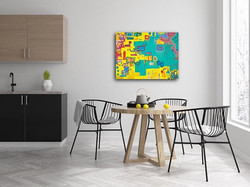 Content print by Tasha Riley hanging in kitchen setting (photo credit: iArtView)