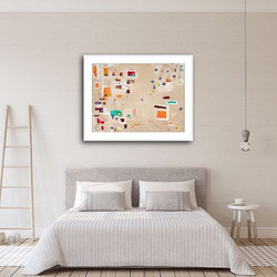 Flying print by Tasha Riley hanging in a bedroom setting (photo credit: iArtView)