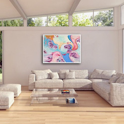 And Still She Remembers The Cherry Blossoms Print by Tasha Riley hanging in living room setting (pho