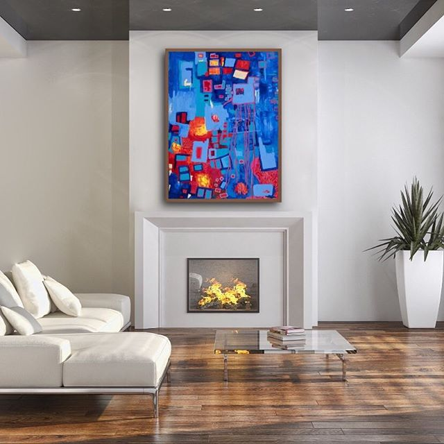 Nighttime Print by Tasha Riley in Living Room setting (photo credit: iArtView)