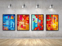 Series of abstract paintings by Tasha Riley (photo credit: iArtView)