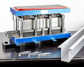 Aluminum extrusion rectangle hole punch tooling by Vortool Manufacturing. Made in Canada.