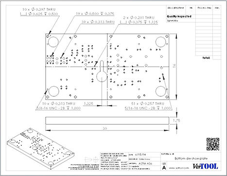 Tool and die drawing with QR code documentation