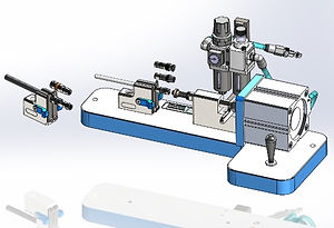 Benchtop pneumatic coax cable press design