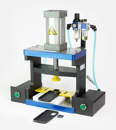 Laboratory custom pneumatic flat bed press by Vortool Manufacturing. Made in Canada.