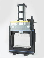 Box frame pneumatic shop air press with Lexan safety guards