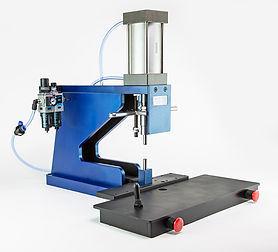Custom portable swaging benchtop pneumatic press by Vortool. Made in Canada.