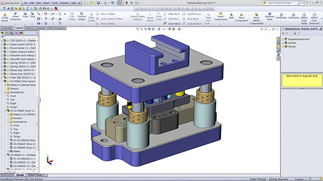 Custom metal stamping tool and die design with SolidWorks 3D CAD by Vortool Manufacturing