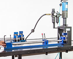 Air-to-oil cylinder mandrel punch press station