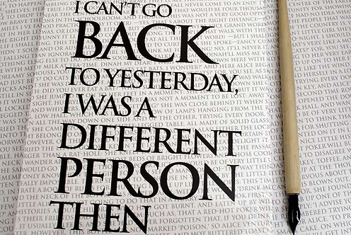 Writing Book - I can't go back to Yesterday...