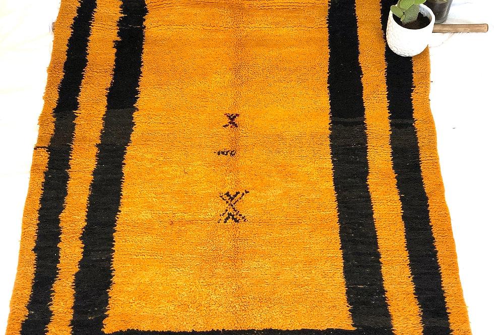 Orange & Black Hand-Woven Berber Rug