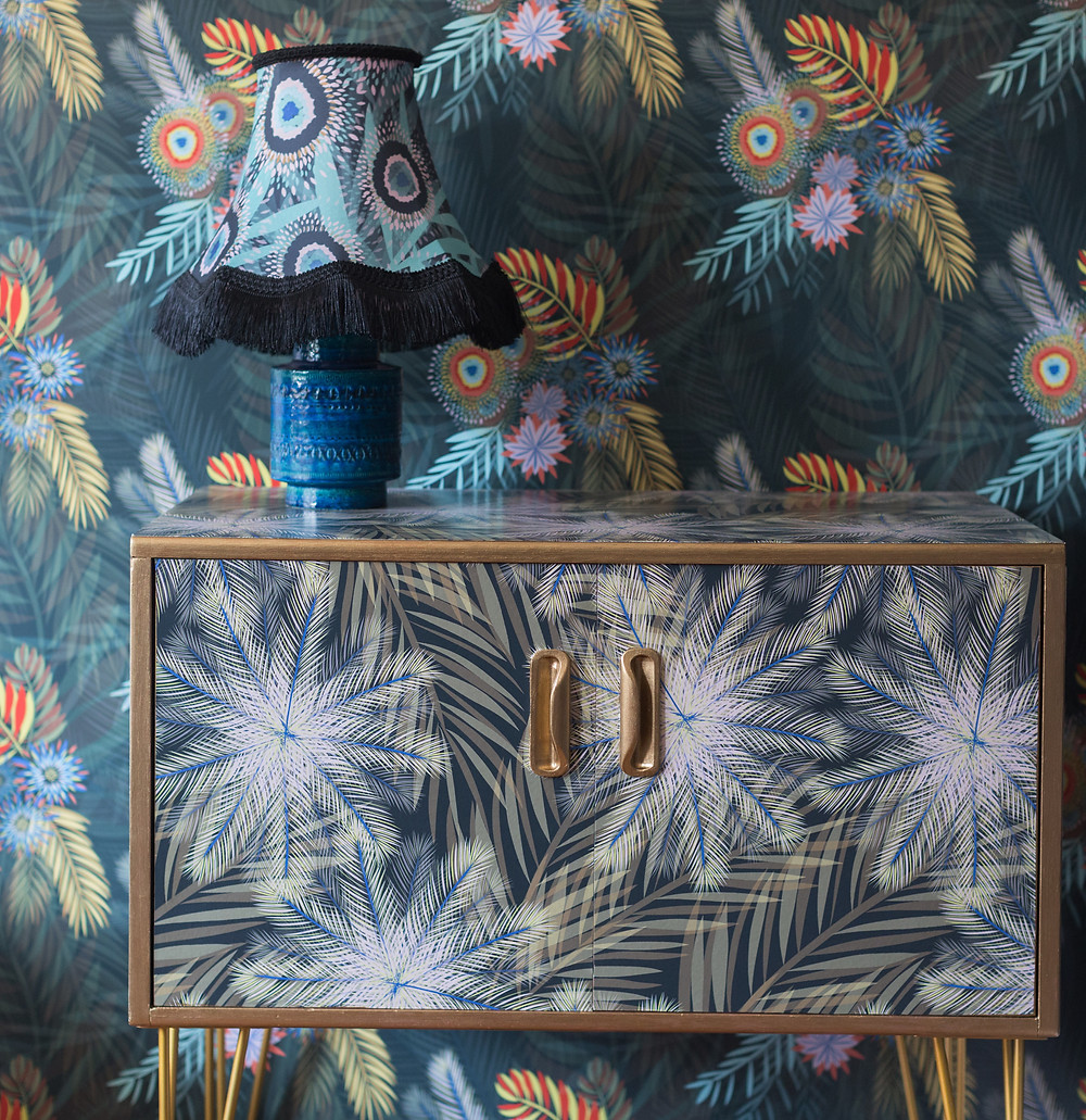 Cabinet in 'Breeze' wallpaper upcycled by @thriftyretro