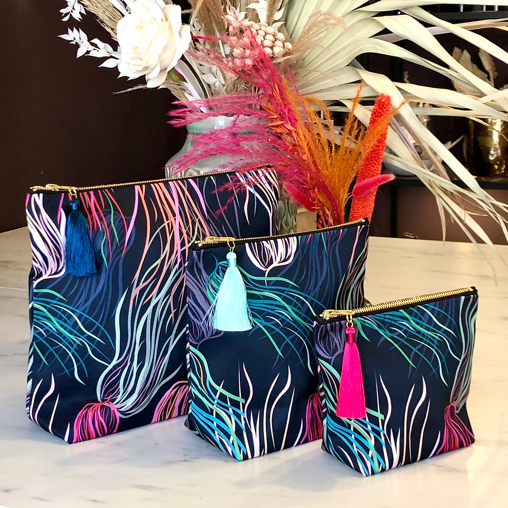 Make Up Bags or Pouches in 3 Sizes by Rebecca j Mills