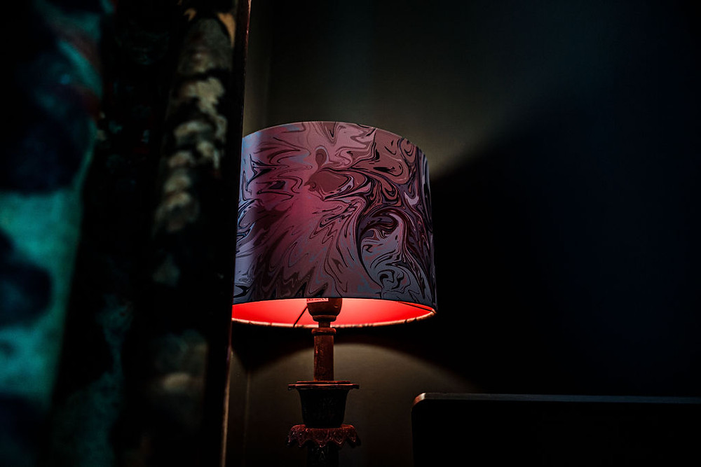 Rebecca J Mills luxury Baked print lampshade in Heavy Satin with red inner