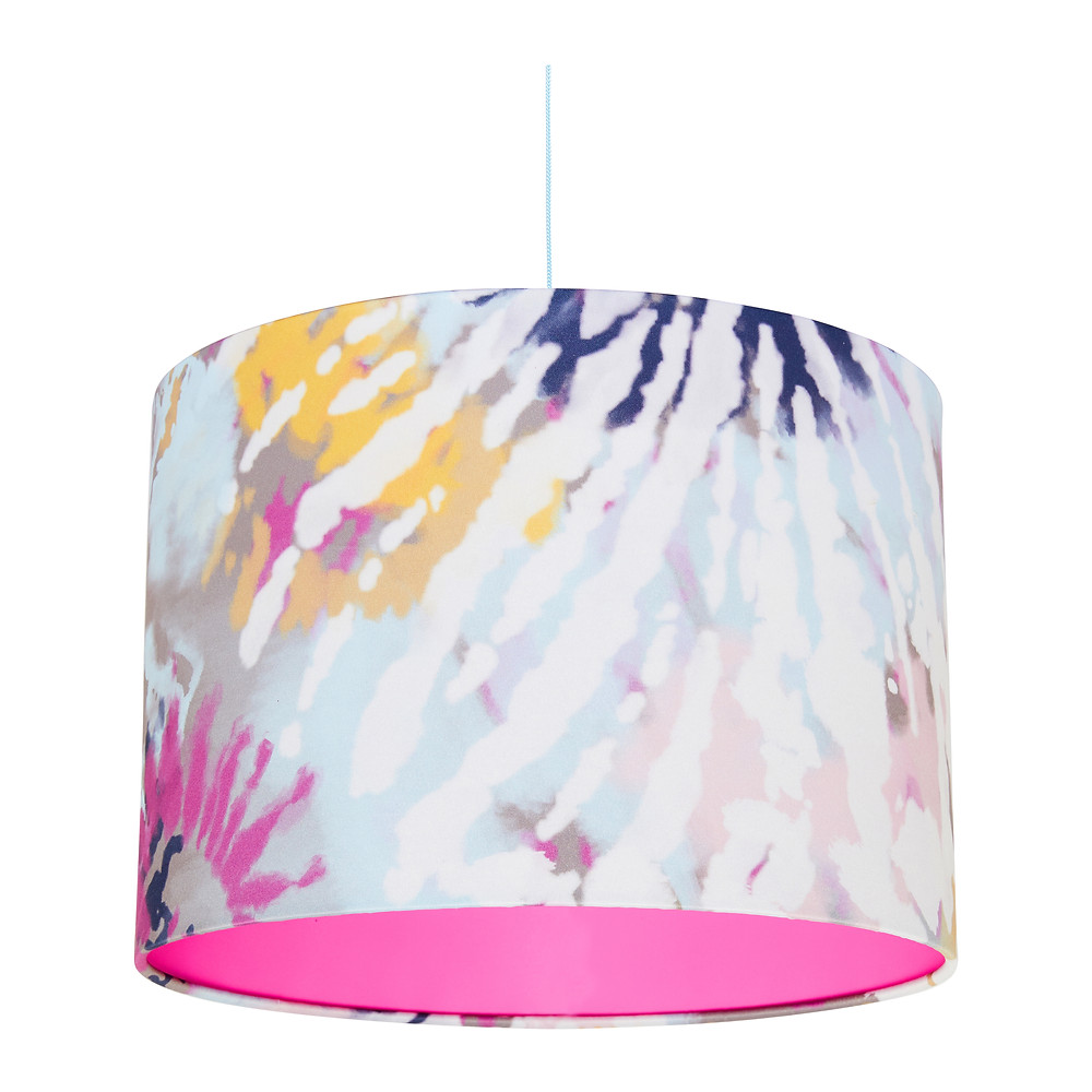 Rebecca J Mills Dream Heavy Satin Tie Dye Printed Lampshade with Hot Pink Inner