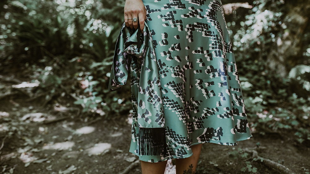 Stunning Bias Cut Skirt in Rebecca J Mills' Scaled 1 Print, from her Loungewear collection
