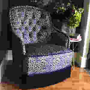'Magic' fabric on a found chair upholstered by Vintique Upholstery
