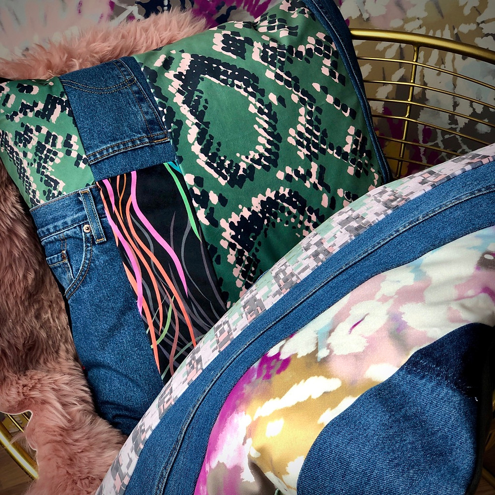 Upcycled Patchwork Cushions made by @upholsterydiaries