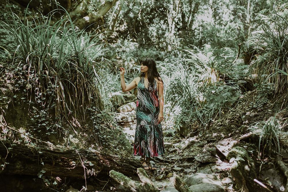 Rebecca J Mills Loungewear Collection, Grass Print Maxi Dress
