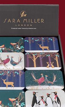 Sara Miller Christmas Cards pocket tin s