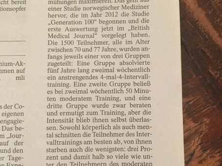 """""""Intensivtraining lässt länger leben"""" aus  """"Frankfurter Allgemeine Zeitung"""" von heute"""