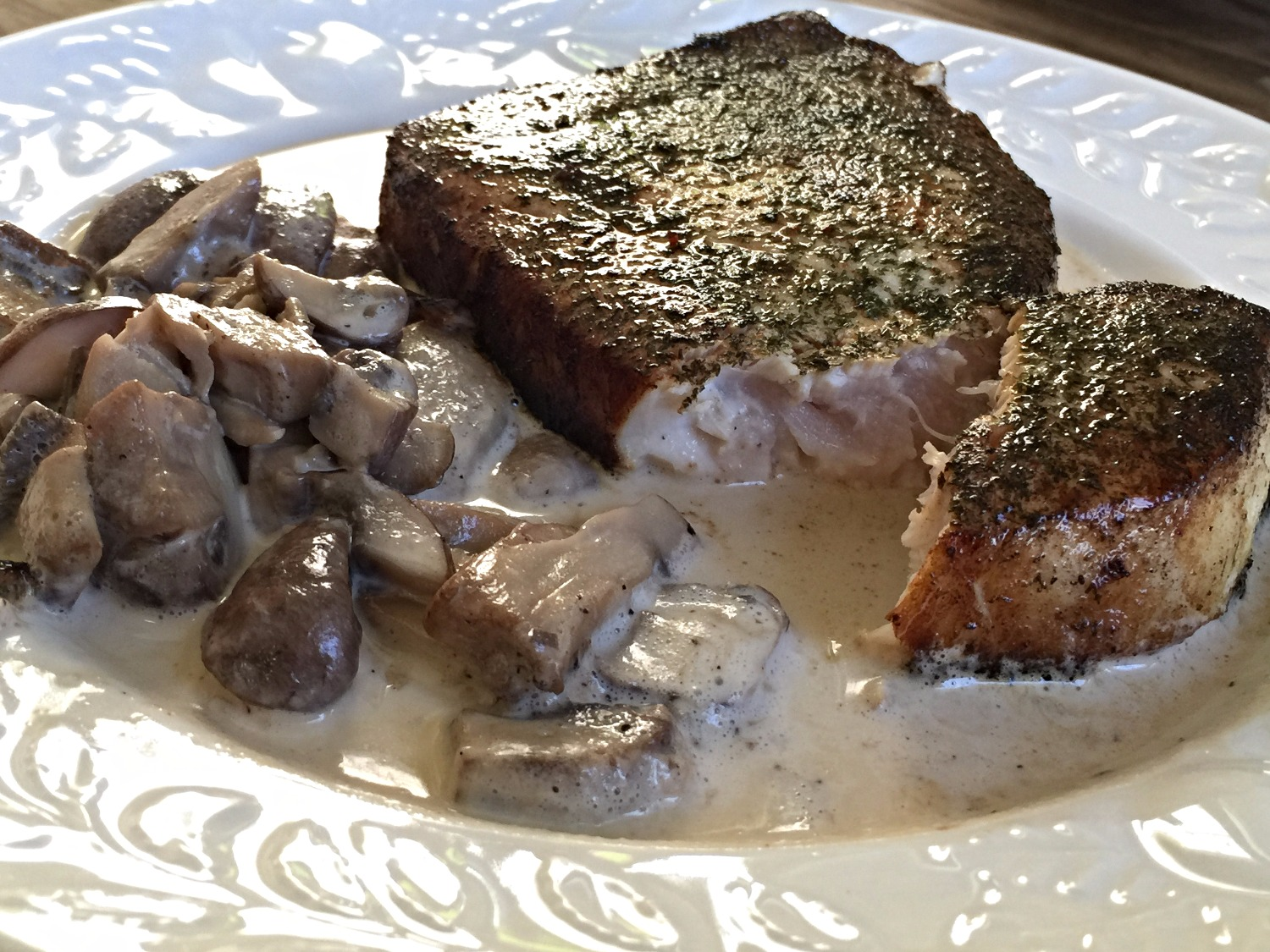 Wild Caught Swordfish Steak & Mushroom Cream Sauce