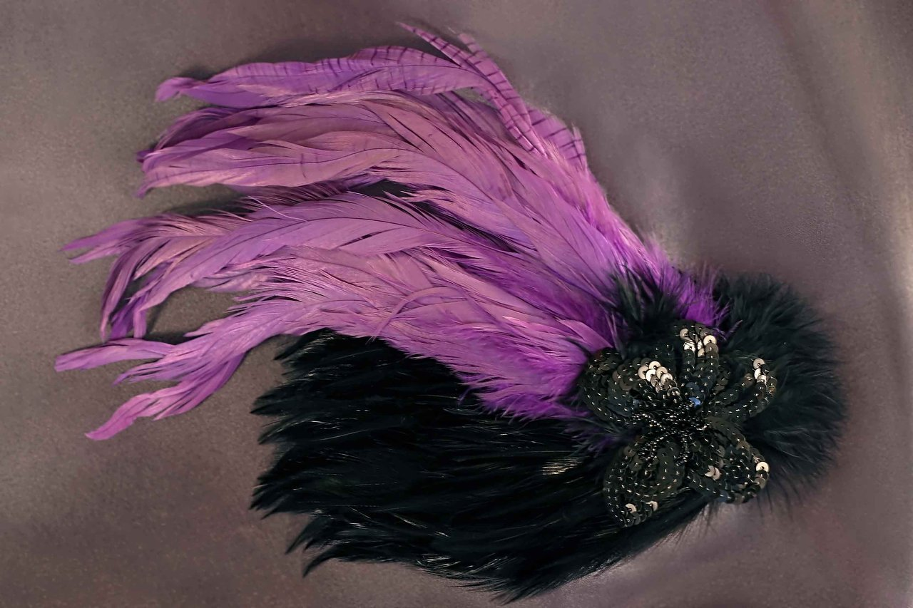 $40 Large Feather Fascinator -Black and Violet Available in a Variety of Shapes