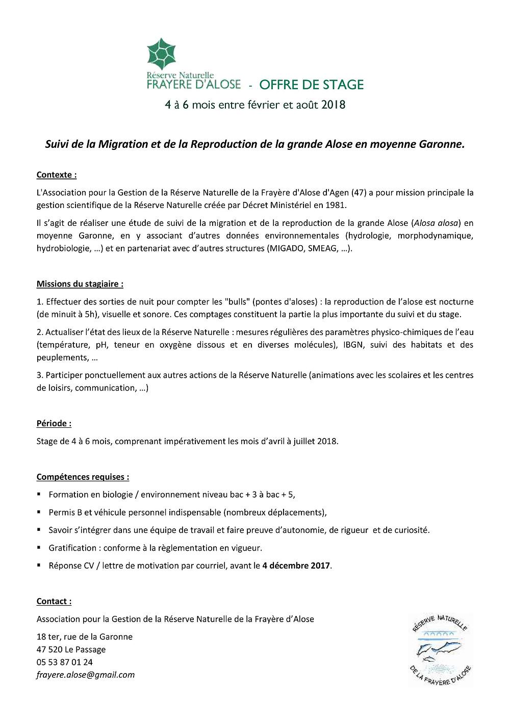 Notre offre de stage concernant le suivi de la grande Alose (Alosa alosa) en Moyenne Garonne en 2018 vient de paraître !