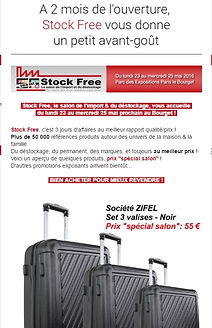 "Newsletter Stock Free, actualité du salon import & déstockage, promotion produits exposants, 1 visuel de produit avec 1 prix ""spécial salon"". Lot, permanent, décoration maison et équipement famille, au meilleur prix. Newsletter Stock Free, actualité salon stock free, Newsletter Stock Free, actualité salon stock free, Newsletter Stock Free, actualité salon stock free, Newsletter Stock Free, actualité salon stock free, Newsletter Stock Free, actualité salon stock free, Newsletter Stock Free, actualité salon stock free"