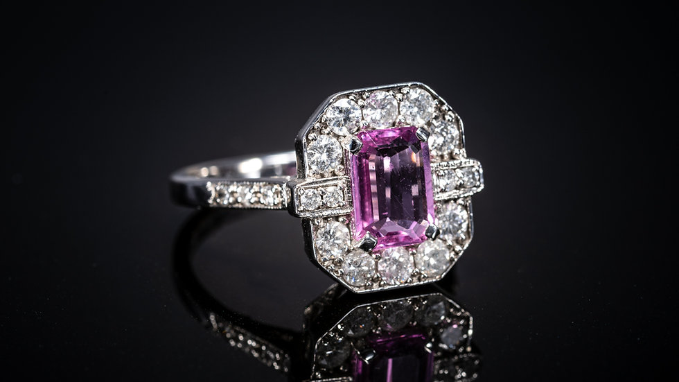 18ct White Gold, Pink Sapphire & Diamond