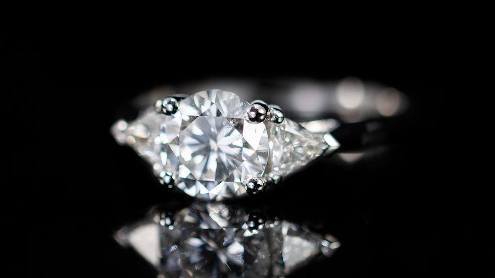 3 Stone Platinum diamond Ring 1.5ct total