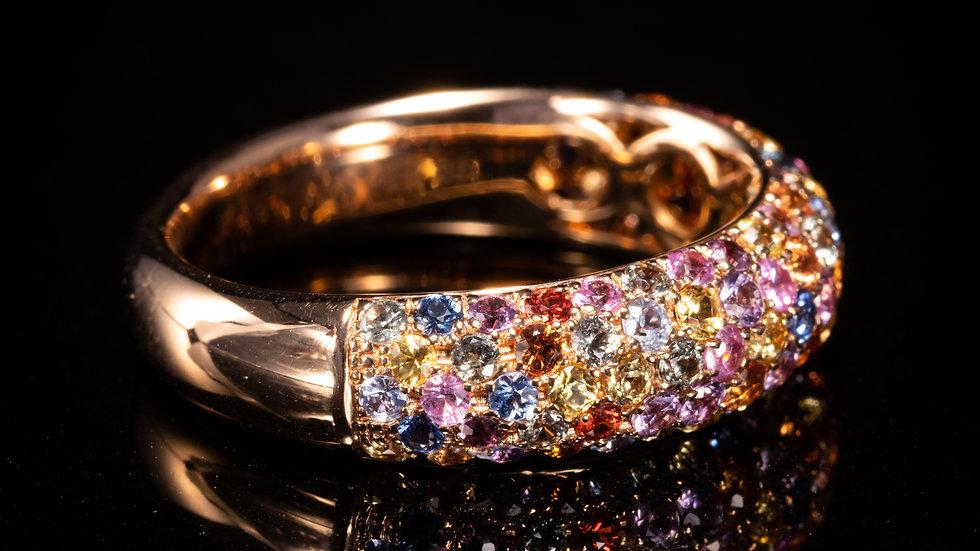 18ct Rose Gold, Multi Sapphire Ring