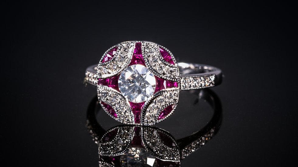 18ct White Gold Ruby & Diamond