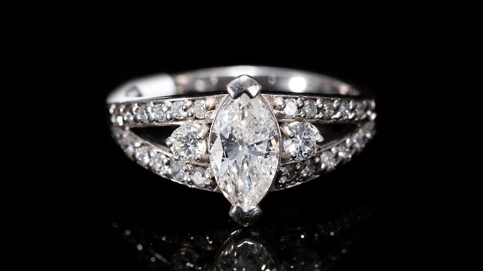 1ct Diamond set in  18ct White Gold