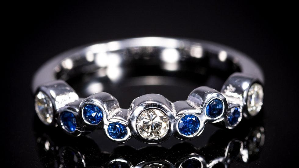 18ct White Gold Sapphire & Diamond Bubble Ring