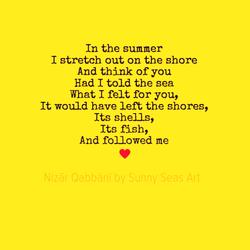 In the Summer by Nizar Qabbani featured by Sunny Seas Art - Yellow