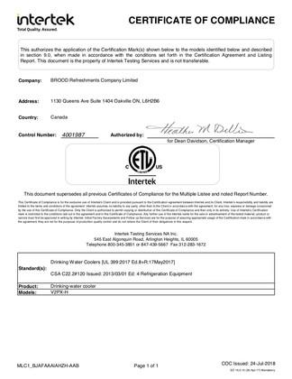 Certifcate of Compliance UL Standard 399