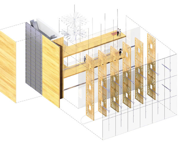 The outer layer of the closed cavity is composed of highly transparent insulated glass units supported by a cable system and braced by compression struts tying back to the lobby passerelles.  The inner layer is made of frameless, laminated panels that span from balcony to balcony. Without mullions and transoms, these systems create a minimalist appearance.  All opaque walls, sloped soffits, and roofs are clad in a rainscreen of travertine panels. The stone panels are supported on a subframe which in turn is attached to the back-up wall and primary building structure with thermally isolated brackets and clips.