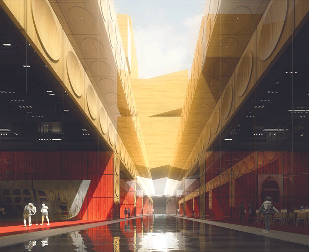…and Shenzhen Opera House's rehearsal spaces, studios, and offices on Level B3.  Below grade, front- and back-of-house spaces are organized around the Traversée and separated into two distinct levels to maximize organizational efficiency and simplicity of circulation.