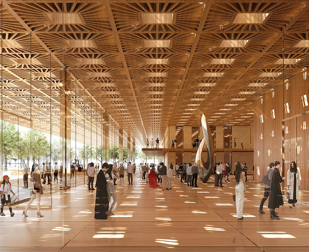 …by elevating the below-grade cultural center to an at-grade Gallery covered by a majestic canopy; …